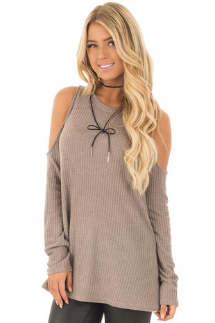Taupe Thermal Knit Cold Shoulder Long Sleeve Top front close up
