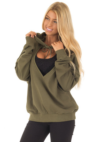 Olive Hoodie with Cut Out V Neck and Open Back front close up