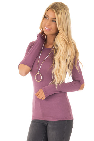 Plum Elbow Cutout Stretchy Long Sleeve Top front close up