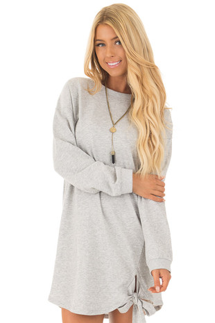 Heather Grey Crew Neck Sweater Dress with Side Bow Detail front close up