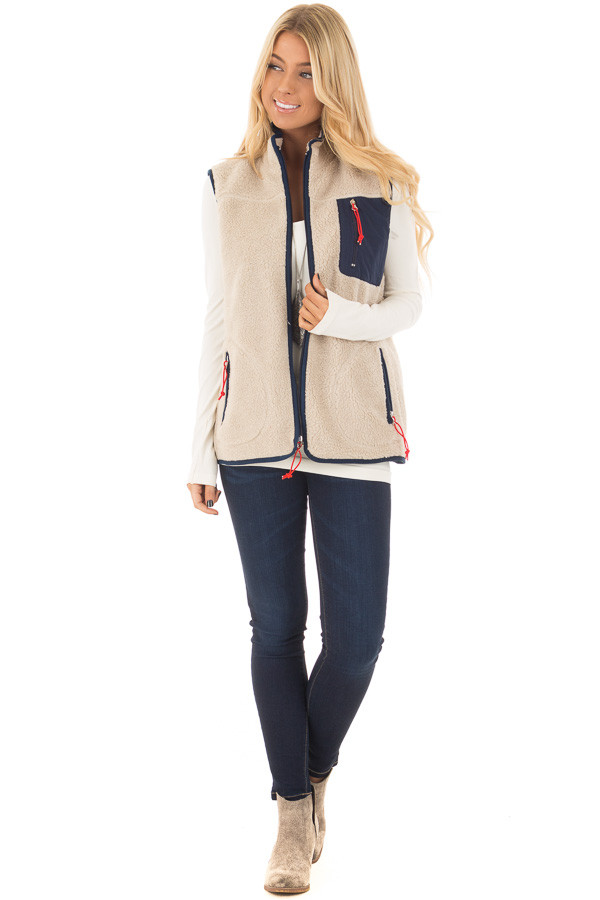 Faux Fur and Navy Zip Up Vest front full body
