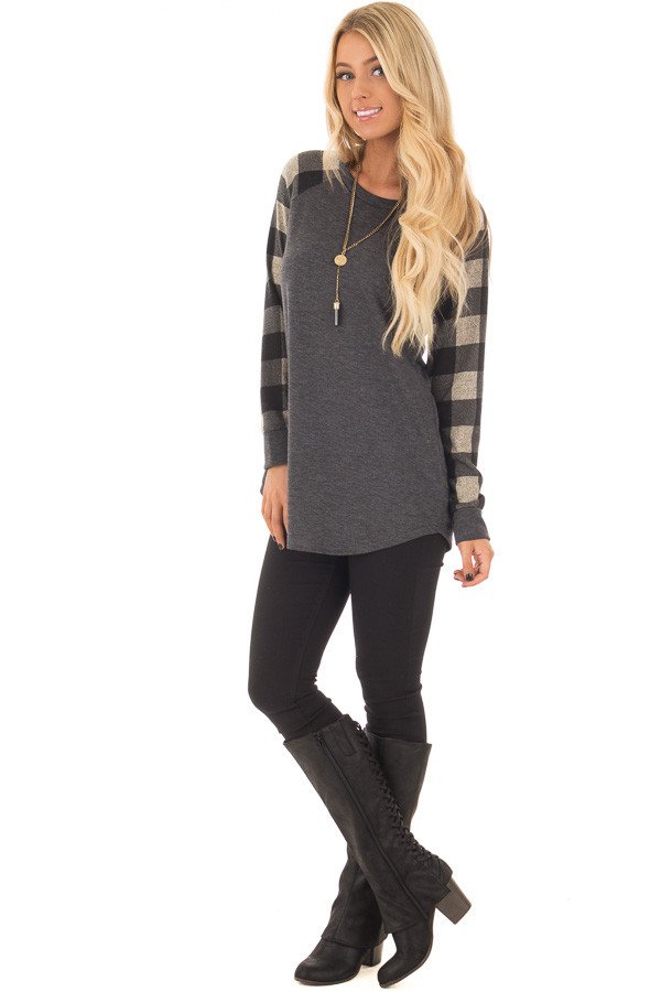 Charcoal Tee with Plaid Long Sleeves front full body