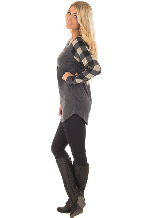 Charcoal Tee with Plaid Long Sleeves side full body