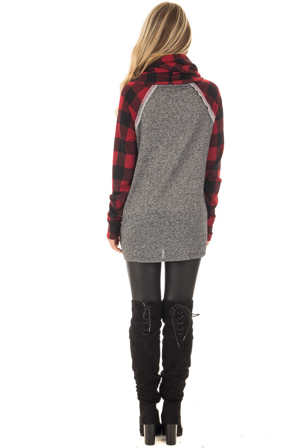 Charcoal Two Tone Sweater with Red Plaid Sleeves back full body