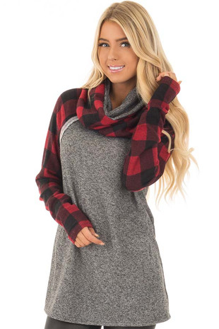 Charcoal Two Tone Sweater with Red Plaid Sleeves front close up