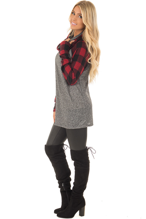 Charcoal Two Tone Sweater with Red Plaid Sleeves side full body