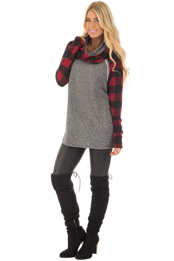 Charcoal Two Tone Sweater with Red Plaid Sleeves front full body