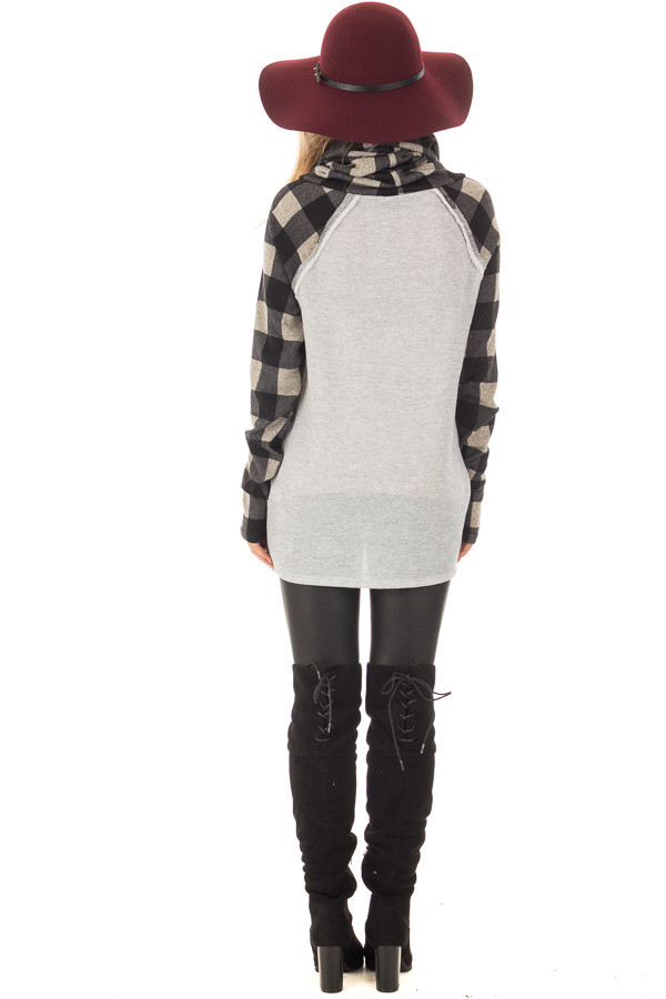 Heather Grey Two Tone Sweater with Plaid Sleeves back full body