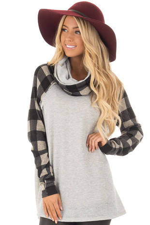 Heather Grey Two Tone Sweater with Plaid Sleeves front close up