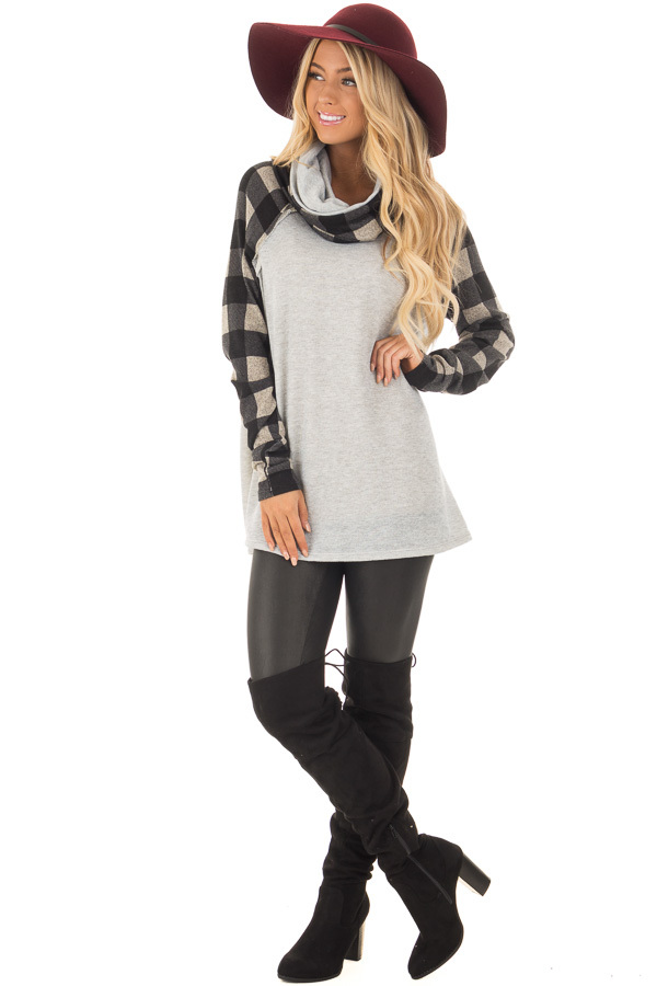 Heather Grey Two Tone Sweater with Plaid Sleeves front full body