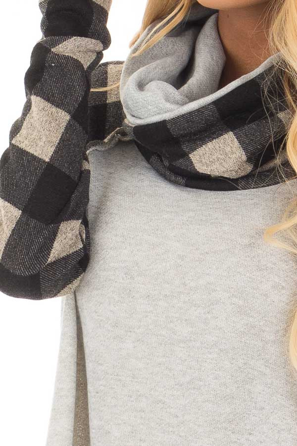 Heather Grey Two Tone Sweater with Plaid Sleeves detail