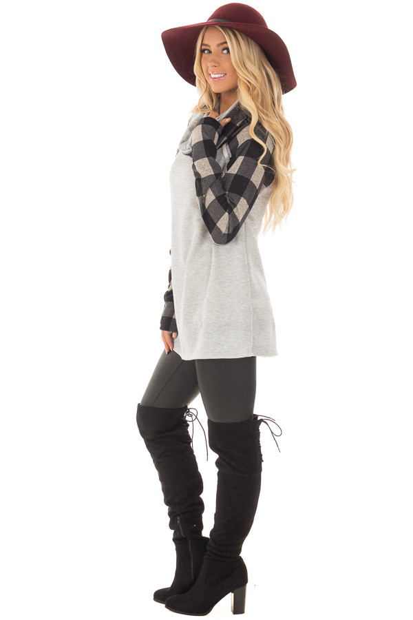 Heather Grey Two Tone Sweater with Plaid Sleeves side full body