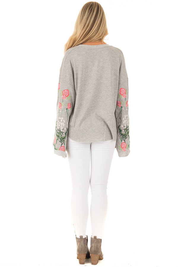 Heather Grey Sweater with Floral Embroidered Details back full body