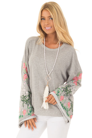 Heather Grey Sweater with Floral Embroidered Details front close up