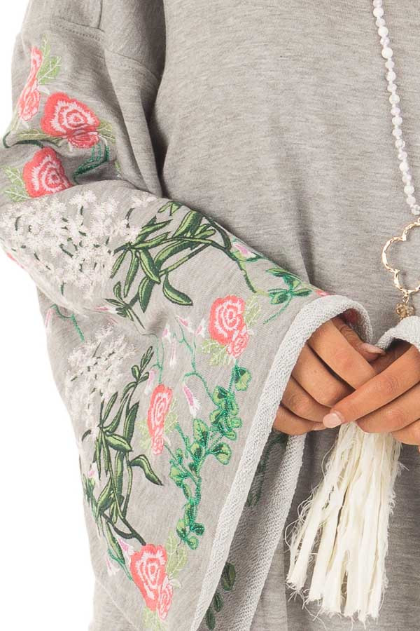 Heather Grey Sweater with Floral Embroidered Details detail