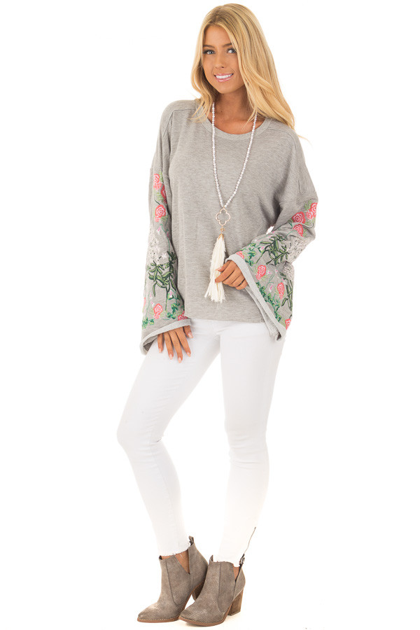Heather Grey Sweater with Floral Embroidered Details front full body