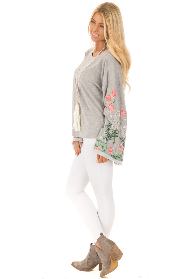 Heather Grey Sweater with Floral Embroidered Details side full body