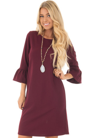 Burgundy 3/4 Sleeve Dress with Bell Flare Sleeve Detail front close up