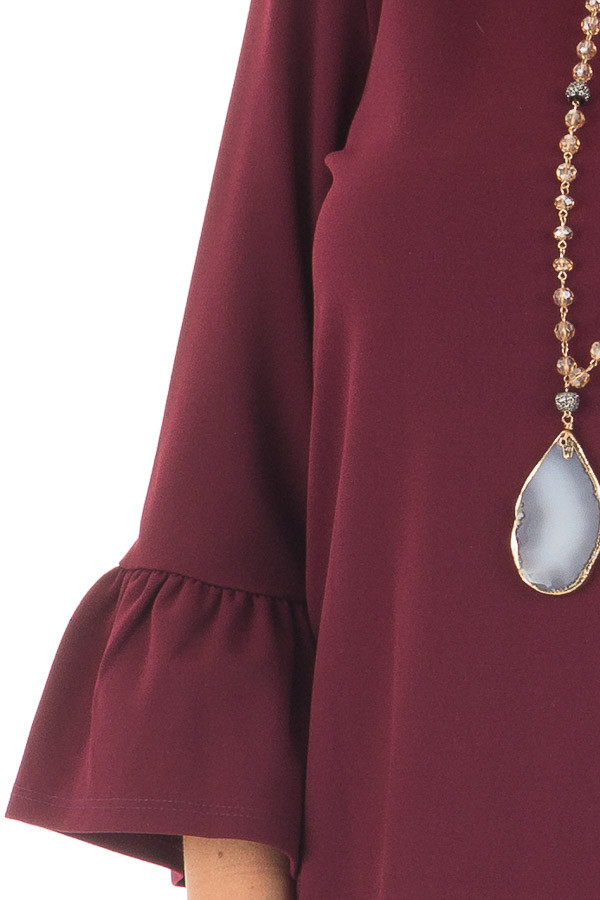 Burgundy 3/4 Sleeve Dress with Bell Flare Sleeve Detail detail