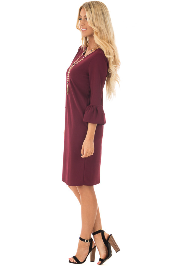 Burgundy 3/4 Sleeve Dress with Bell Flare Sleeve Detail side full body