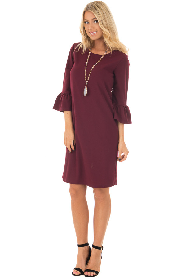 Burgundy 3/4 Sleeve Dress with Bell Flare Sleeve Detail front full body