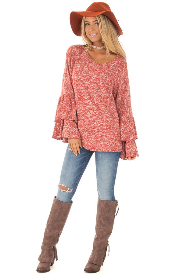Burnt Orange Stretchy Sweater with Long Layered Bell Sleeves front full body