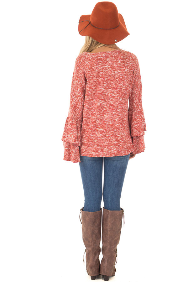 Burnt Orange Stretchy Sweater with Long Layered Bell Sleeves back full body