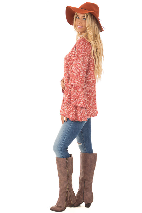 Burnt Orange Stretchy Sweater with Long Layered Bell Sleeves side full body