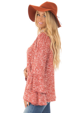 Burnt Orange Stretchy Sweater with Long Layered Bell Sleeves side close up