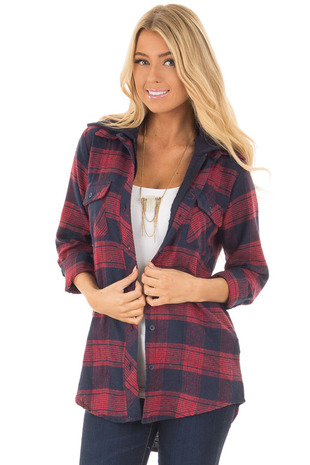 Navy and Red Plaid Button Up Shirt with Hood front close up