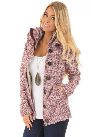 Wine Two Tone Thick Knit Sweater with Faux Fur Lining front close up