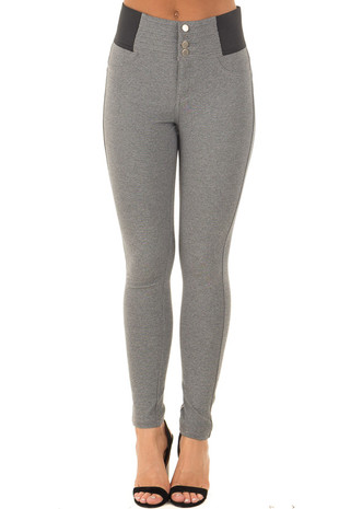 Stone Grey Stretchy Skinny Ponte Pants front view