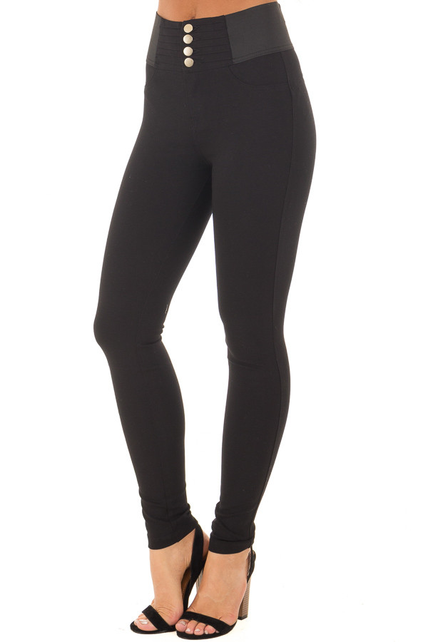 Black Stretchy Skinny Ponte Pants front side view