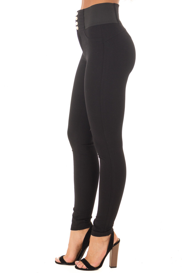 Black Stretchy Skinny Ponte Pants side view