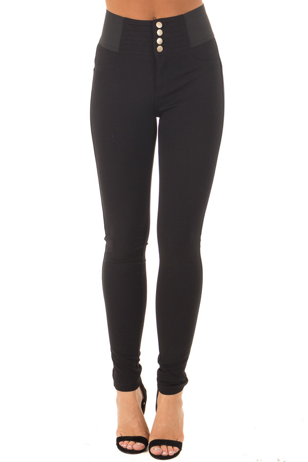 Black Stretchy Skinny Ponte Pants front view