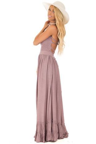 Mauve Woven Halter Maxi Dress side full body