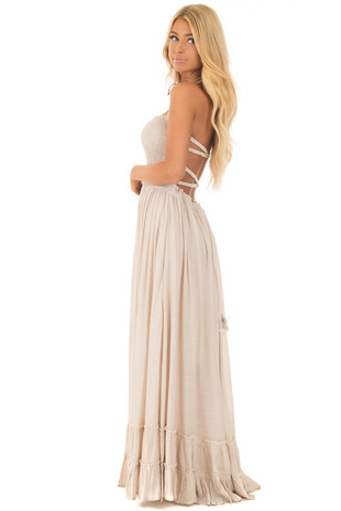 Natural Woven Halter Maxi Dress side full body