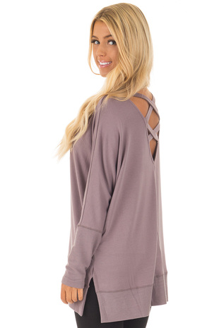 Midnight Purple Long Sleeve Sweater with Back Details back side close up