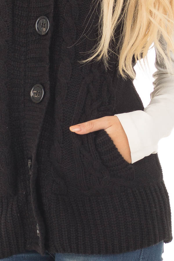 Black Knitted Sweater Vest with Hood detail