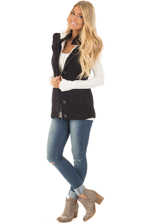 Black Knitted Sweater Vest with Hood front full body