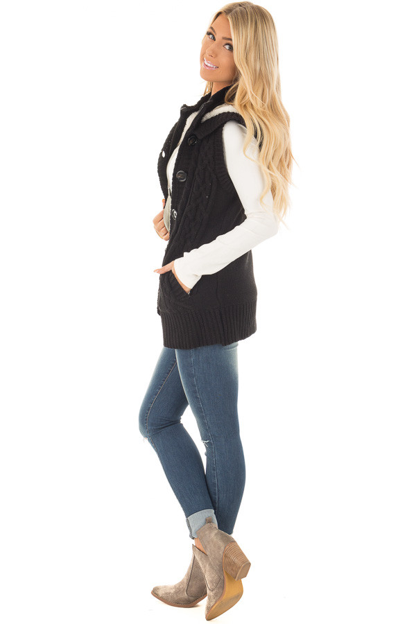 Black Knitted Sweater Vest with Hood side full body
