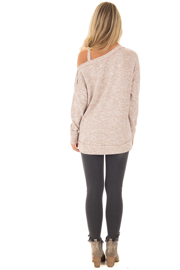 Blush Two Tone Cold Shoulder Sweater back full body