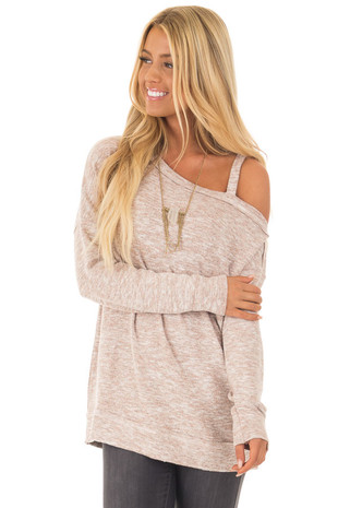 Blush Two Tone Cold Shoulder Sweater front close up