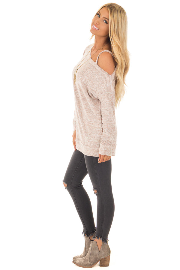 Blush Two Tone Cold Shoulder Sweater side full body