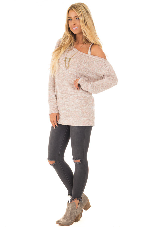 Blush Two Tone Cold Shoulder Sweater front full body