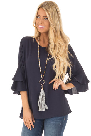 Navy Blouse with Tiered Flare Sleeves front close up