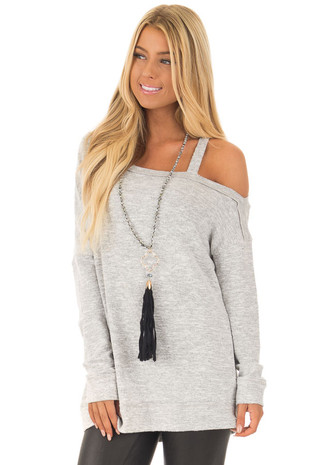 Heather Grey Two Tone Cold Shoulder Sweater front close up