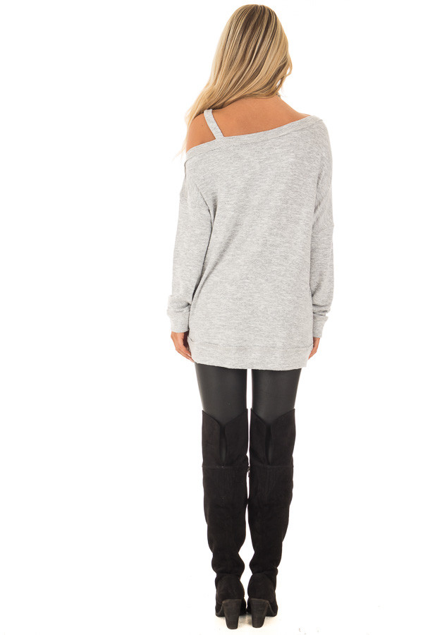 Heather Grey Two Tone Cold Shoulder Sweater back full body