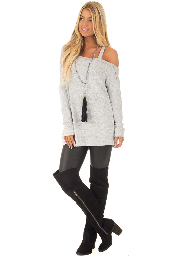 Heather Grey Two Tone Cold Shoulder Sweater front full body