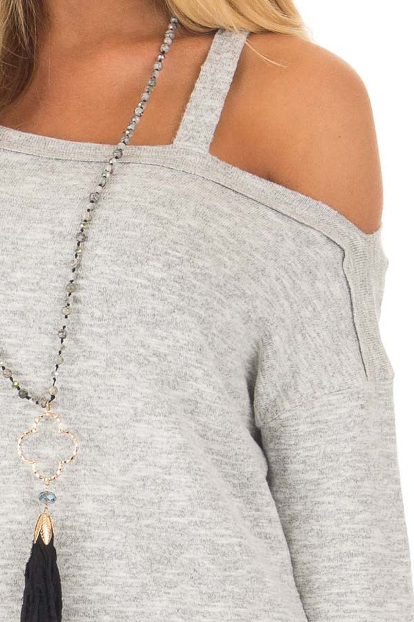 Heather Grey Two Tone Cold Shoulder Sweater detail